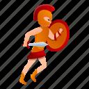 gladiator, man, person, running, sport, tattoo