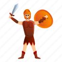 armor, gladiator, man, roman, shield, woman