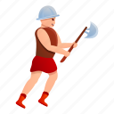 axe, gladiator, heart, man, roman, shield