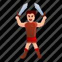 gladiator, retro, sport, sword, two, vintage
