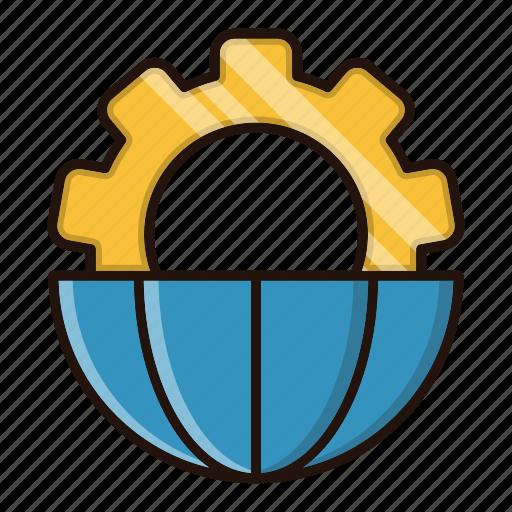 cog, gear, global, processing, world icon