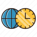 globe, time, watch, world, zones icon