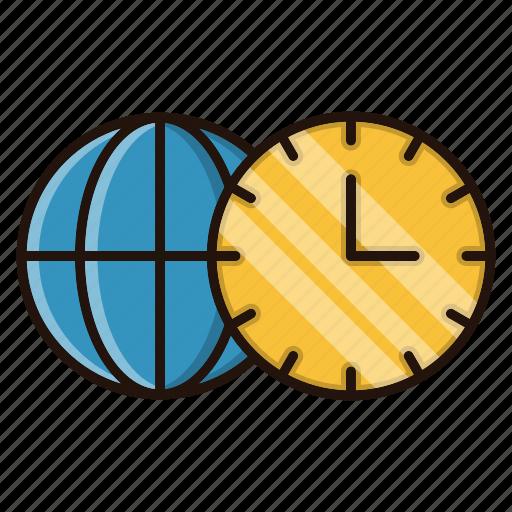 globe, time, watch, world, zones icon