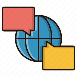 chat, conversation, discussion, global icon