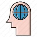 brain, creative, global, head, ideas icon