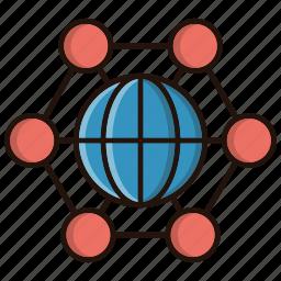 corporation, international, internet, network icon