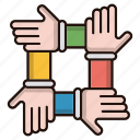 contract, deal, friends, hands, union icon