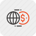 exchange, world, money, transaction, transfer, currency, global icon