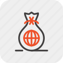finance, business, sack, money, investment, global, bag icon