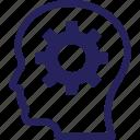 creativity, idea, brainstorming, cog, idea develop icon