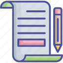 file, notes, pencil, text sheet, writing icon