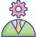 idea develop, idea, cog, brainstorming, personal solution icon
