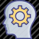 brainstorming, cog, creativity, idea, idea develop icon