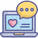 love, chatting, emotional information, loving, laptop icon