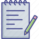 notes, pencil, text, text sheet, writing icon