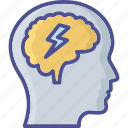 idea, brainwash, thunder, brainstorming, idea develop icon