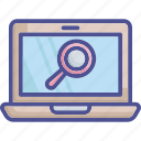 magnifying, inspection, laptop, monitoring, survey icon