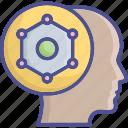 competitive intelligence, idea develop, brain, system thinking, idea icon