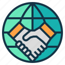 agreement, cooperation, hand, partnership, world icon