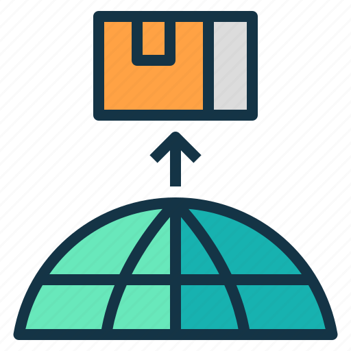 abroad, business, export, goods, sell, ship icon