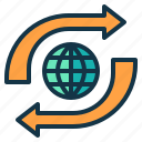 arrow, business, direction, global, renovation, trend icon