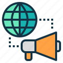 global, international, marketing, megaphone, word icon