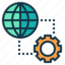 global, machine, processing, service icon