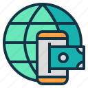 global, mobile, money, transaction, transfer icon