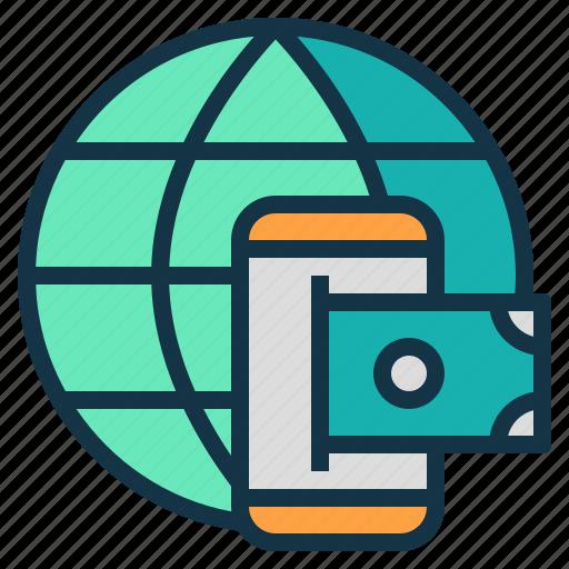 global, mobile, money, transaction, transfer icon