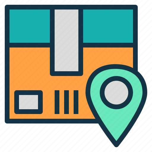location, parcel, pinpoint, real, time, tracking icon