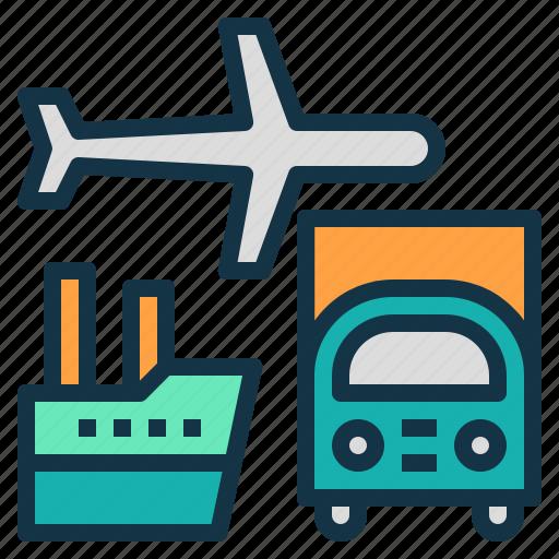 plane, ship, transportation, truck, vehicle icon