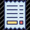 bill, cheque, payment, receipt, voucher icon