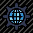 gear, global, globe, internet, setting