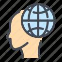 globe, world, internet, network, head, mind
