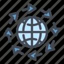 globe, world, internet, network, arrow, rotation, rotate