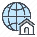 globe, world, internet, network, home, house, connection