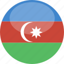 azerbaijan, circle, flag, gloss icon