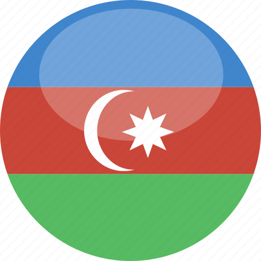 azerbaijan, circle, flag, gloss icon