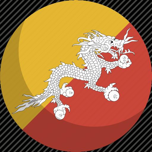 bhutan, country, flag, nation icon