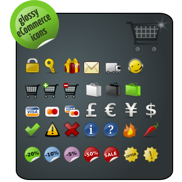Ecommerce, glossy, pack icon
