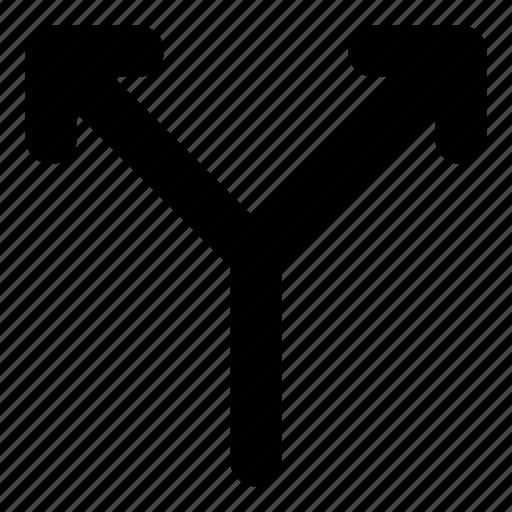 arrows, basic, divide, r, split icon