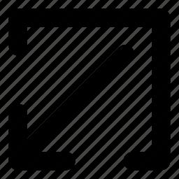 arrows, basic, download, minimize, r icon