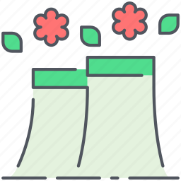 eco, ecology, environment, factory, green, industry, power plant icon