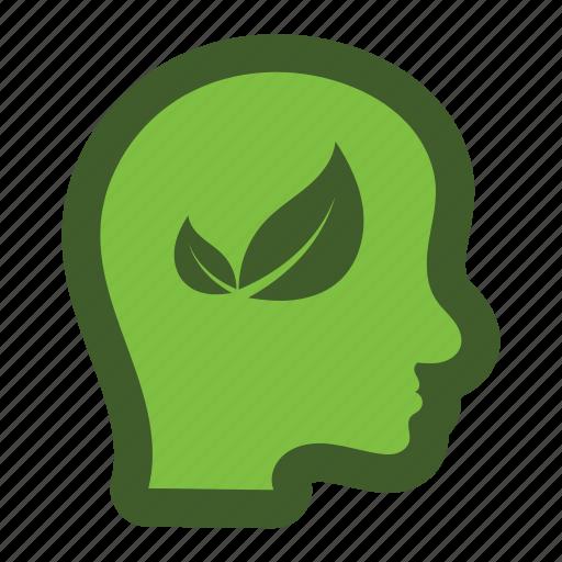 go, green, head, icon, leaf, man, safe icon