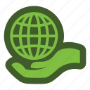 globe, go, green, hand, icon icon