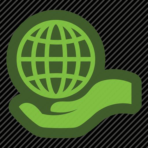 globe, go, green, hand, icon icon