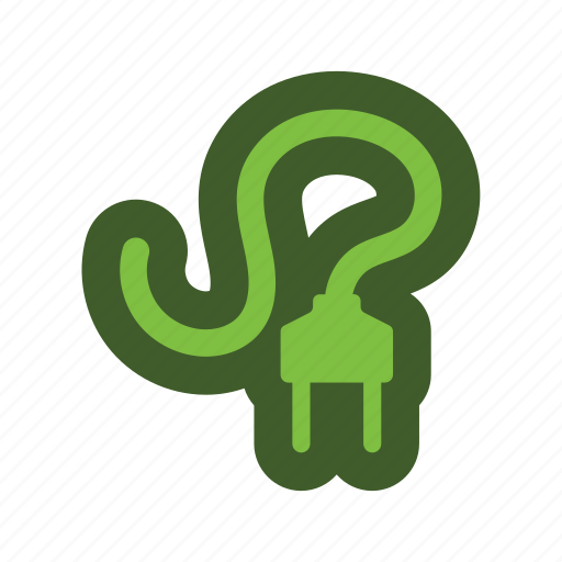cable, electric, go, green, icon, plug icon