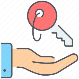 hand, home, key, land, lease, purchase, real-estate icon
