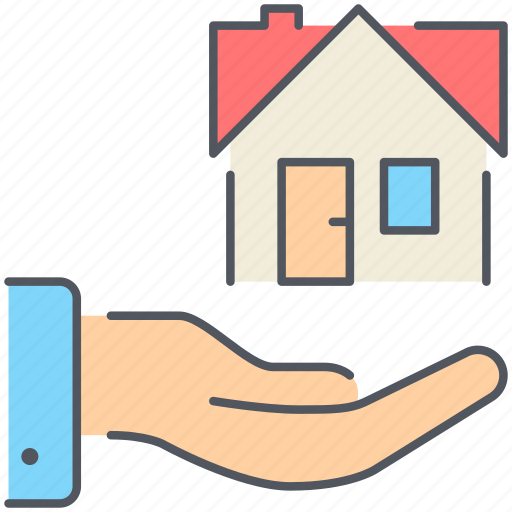 hand, home, lease, property, real-estate, residential, take icon
