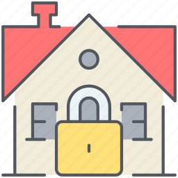 home, house, lock, protected, real-estate, residential, secure icon